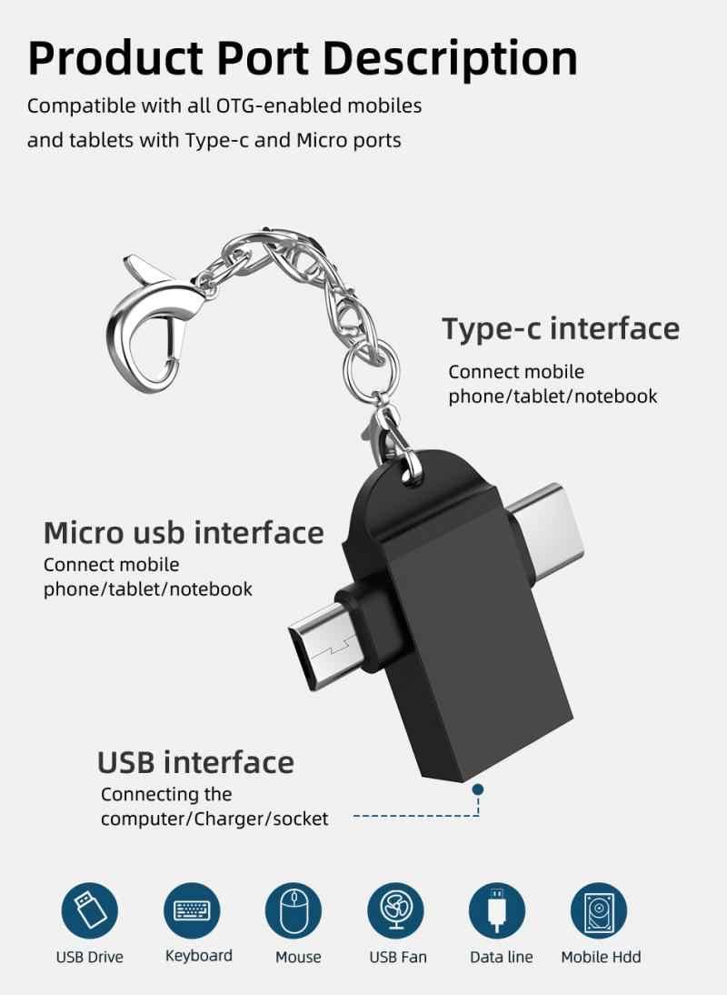 Nowy! 2-in-1 typ C Micro USB OTG Adapter do androida Huawei USB 3.1 transmisji danych konwertery dla Tablet dysk twardy telefon