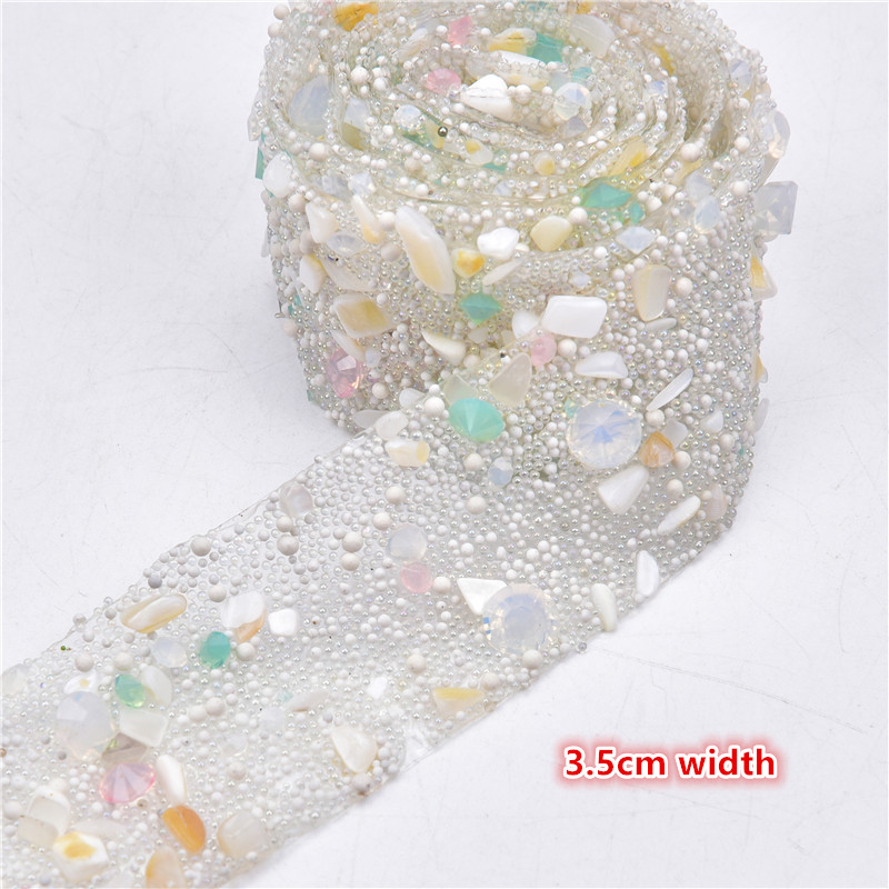 1m multicolour gold Diamonte BEAD crystal decoration ribbon mesh rhinestone