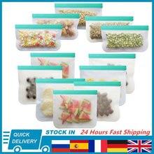 12 шт./компл. силиконовый Пакет PEVA, силиконовая сумка для хранения пищевых продуктов, контейнер для еды, сумка для хранения свежих продуктов