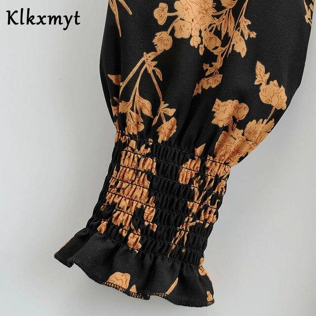 Klkxmyt Za Dress Women 2020 Chic Fashion Floral Print Mini Dress Vintage Long Sleeve Elastic Waist Female Dresses Vestidos Mujer 6