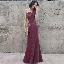 Длинное вечернее платье на одно плечо для женщин заказ вечерние