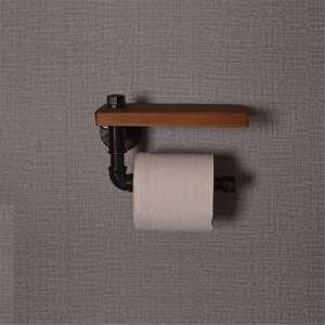 Image 4 - Porte rouleau papier toilette avec support pour téléphone étagère murale flottant support de tuyau deau articles ménagers industriels rustiques