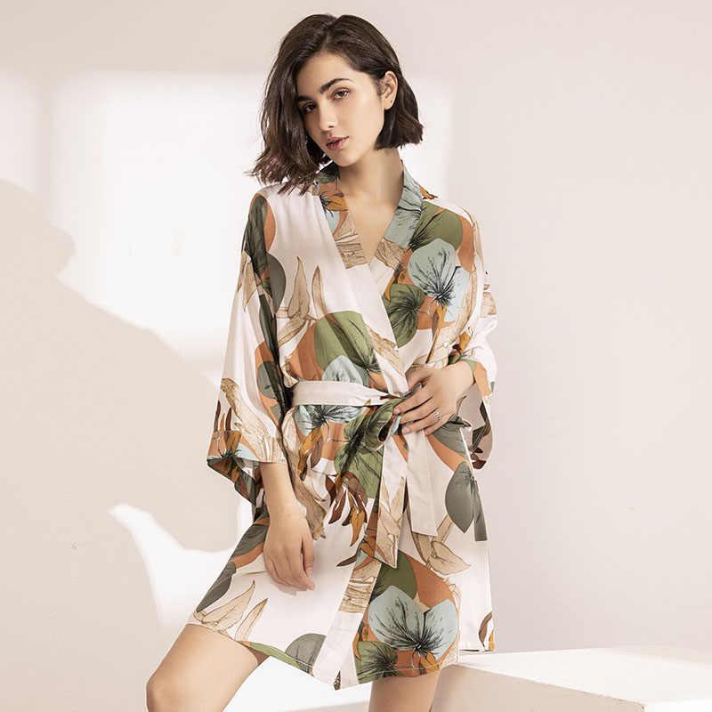 2020 אביב חדש גבירותיי משי סאטן דק חלוק נוחות טרי סגנון פרחוני מודפס הלבשת סקסי כתונת לילה Femme סאטן Homewear