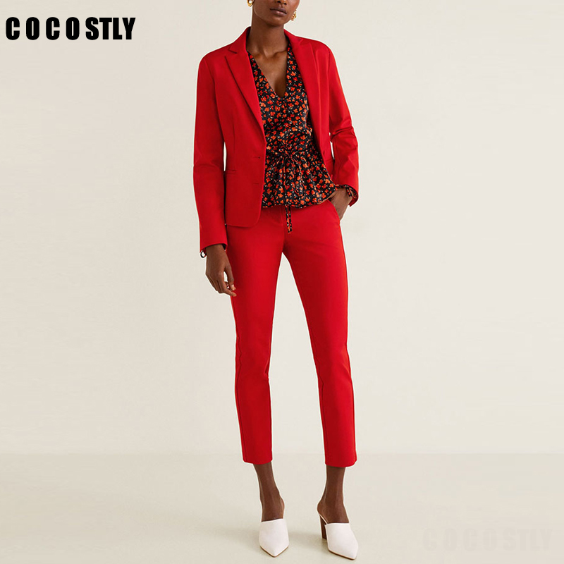 Office Lady Pants Suit Women's Single Breasted Long Sleeve Short Jacket Trousers Two Piece Set Red Pants Suit Costume Femme