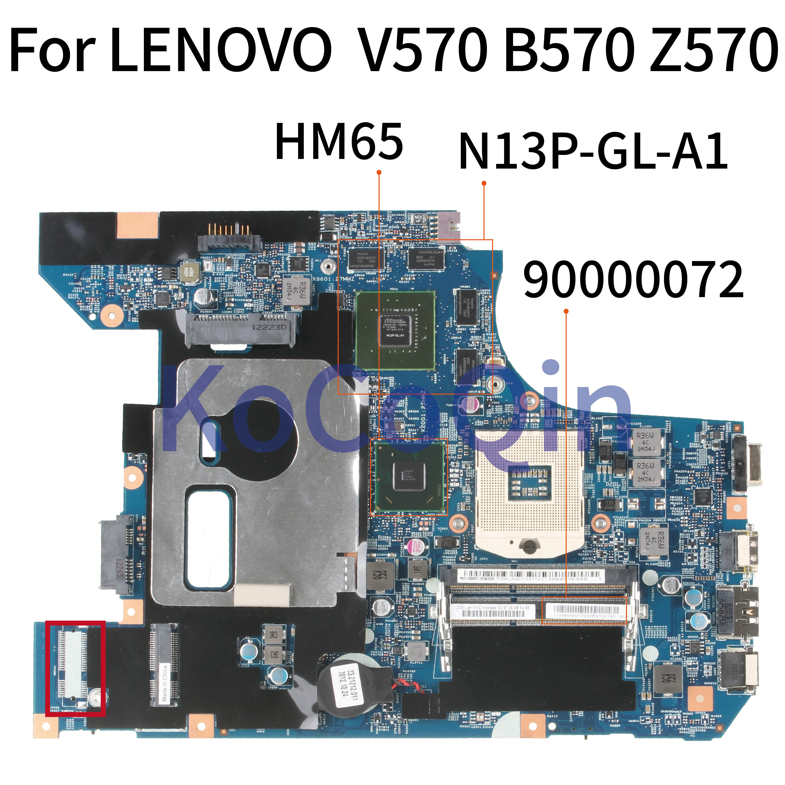 KoCoQin Laptop <font><b>motherboard</b></font> For <font><b>LENOVO</b></font> <font><b>V570</b></font> B570 Z570 HM65 N13P-GL-A1 Mainboard 90000072 10290-4 image