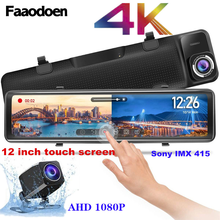 Car Dvr Video-Recorder Rearview-Mirror Dash-Cam Touch-Screen Night-Vision Faaodoen 4k 2160p