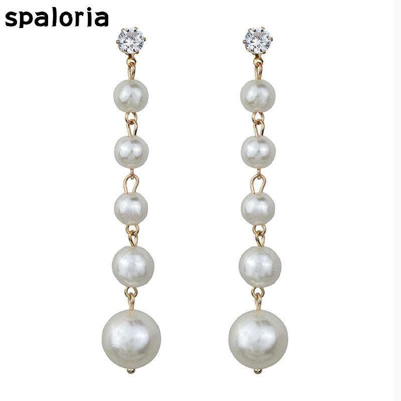 Spaloria Fahsion Simulated Pearl String Dangle Earrings For Women Bride Crystal Drop Hanging Long Earring Jewelry Female Brincos(China)