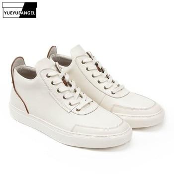 Zapatos casuales de cuero genuino para Hombre de alta calidad con cordones...