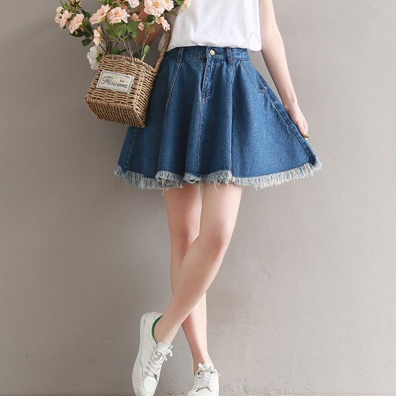 Blue Short Denim Skater Skirts Shorts Women Spring 2020 Vintage Streetwear Pleated Jeans Skirt Female Loose Saias AQ875(China)