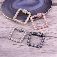 3 шт., Micro Pave CZ Квадратной Формы Кристалл циркония Застежка карабин, Pave ЗАМОК, ожерелье хлопки, ювелирных изделий