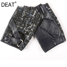 Gloves DEAT Autumn Half-Finger Women Fashion High-Quality New Casual Sequin BE493 All-Mathch