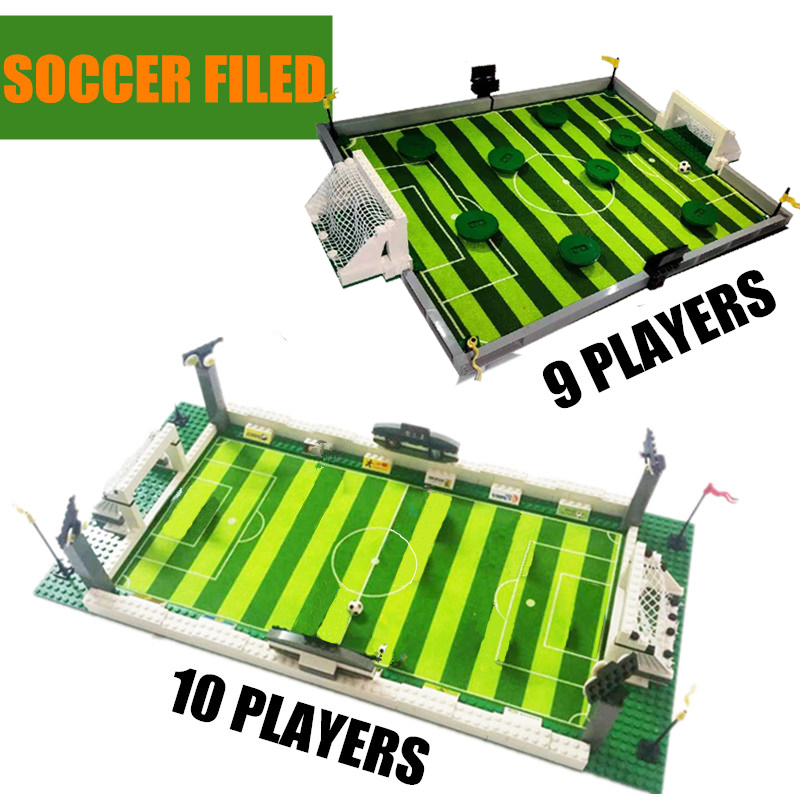 New Soccer Field World Team Player Fit Football Figures City Model Building Bricks Blocks Diy Toys Gift Kid Winning Cup image