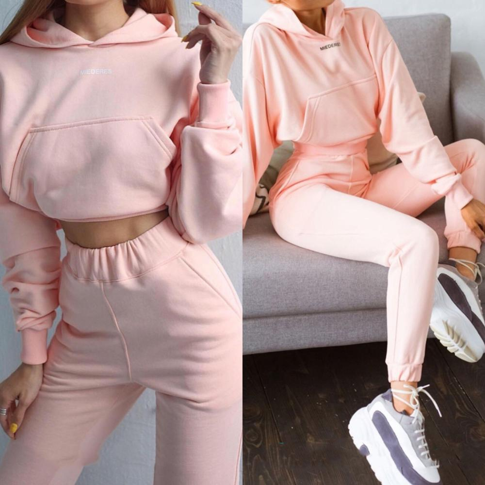 Autumn Winter Fashion Tracksuit Women Letter Print Pullover Coat with Hood Two Pieces Set Hoodies Casual Trousers Suit Sweatsuit
