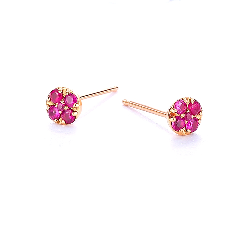 Solide 14k or Rose naturel rubis femmes boucles d'oreilles de fiançailles de mariage bijoux fins - 5