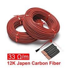 Gaine en caoutchouc de Silicone en Fiber de carbone, fil chauffant, câble de sol chaud, mise à niveau, 33 Ohm/m, 3mm, 100 mètres
