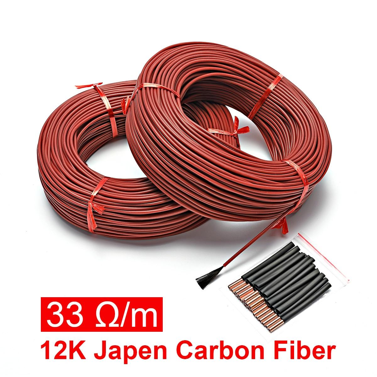 Нагревательный кабель из силиконового каучука и углеродного волокна, 100 м, 12k, 33 Ом, 5-220 В, нагрев пола, высококачественный Инфракрасный нагре...