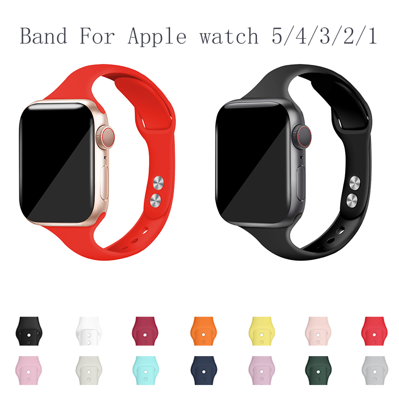 Band For Apple Watch 5 4 44mm 40mm Band Sport Silicone Bracelet Watch Strap For Iwatch Series 3/2/1 38MM 42MM Accessories