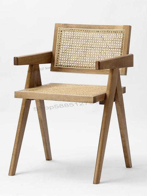 Solid Wood Dining Chair Rattan Nordic Chair  2