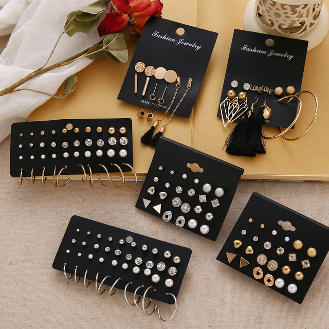 EN 12 Pairs Flower Women'S Earrings Set Pearl Crystal Stud Earrings Boho Geometric Tassel Earrings For Women 2020 Jewelry Gift 1