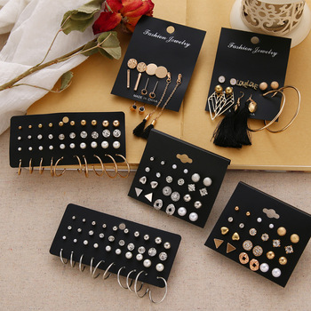 EN 12 Pairs Flower Women'S Earrings Set Pearl Crystal Stud Earrings Boho Geometric Tassel Earrings For Women 2020 Jewelry Gift Fashion & Designs Fine Jewellery Jewellery & Watches Women's Fashion