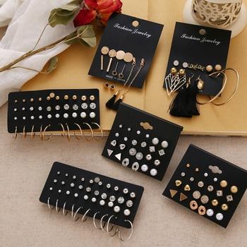 EN 12 Pairs Flower Women'S Earrings Set Pearl Crystal Stud Earrings Boho Geometric Tassel Earrings For Women 2020 Jewelry Gift Fashion & Designs Fine Jewellery Jewellery & Watches Women's Fashion