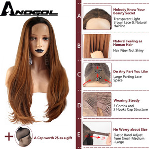 Image 4 - Anogol Brand Dark Roots Ombre Brown Synthetic Lace Front Wigs Long Straight Heat Resistant Fiber Wigs for Women Daily Use
