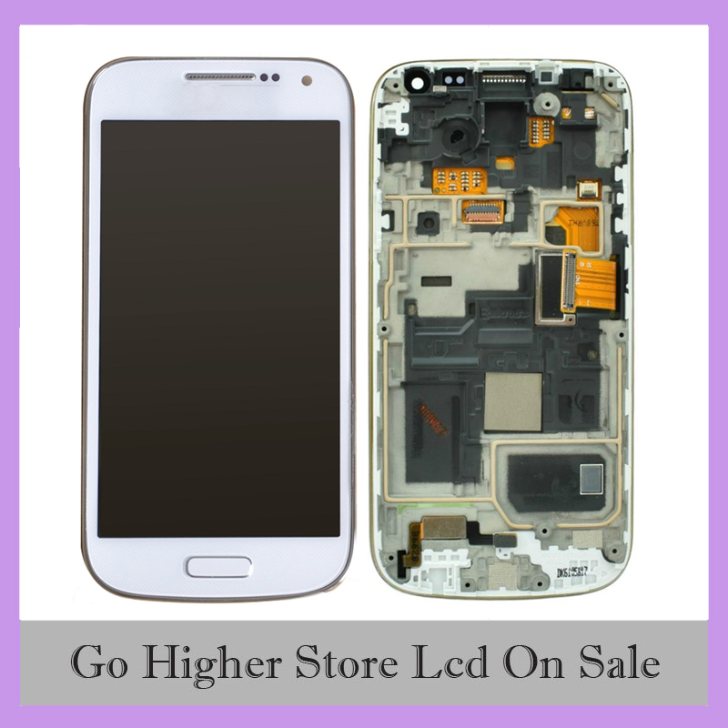 S4 Mini LCD White For Samsung Galaxy S4 MINI i9190 i9192 i9195 LCD Screen Digitizer Assembly With Frame image