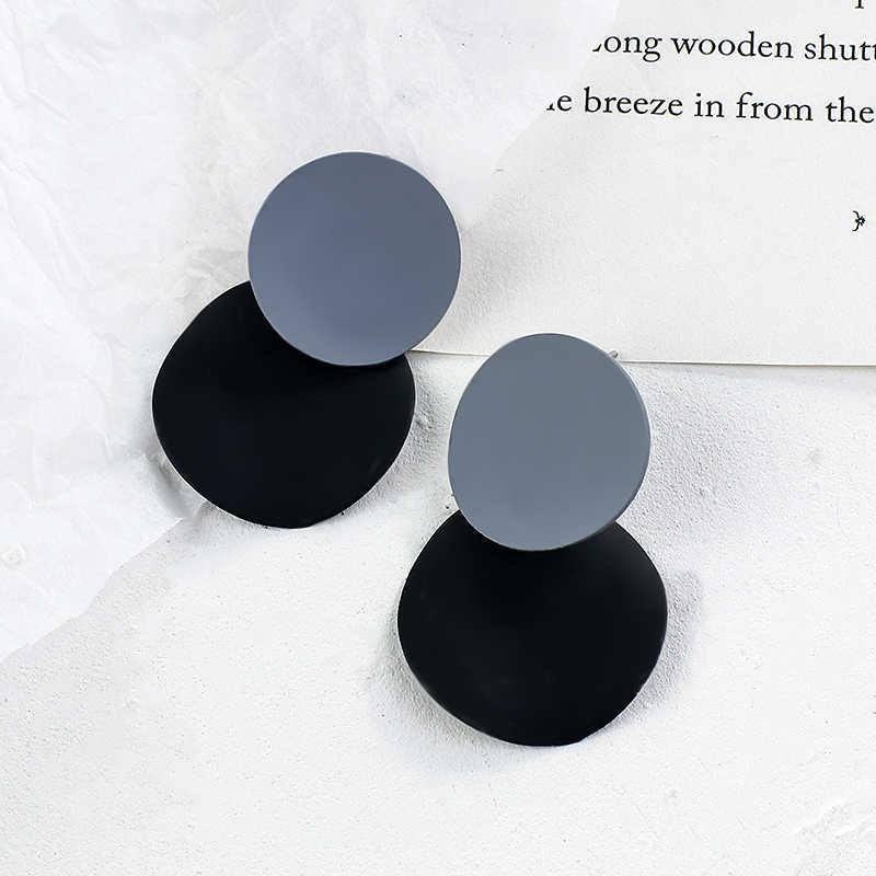 Aensoa韓国ブルー幾何アクリル樹脂イヤリングシンプルな円形、正方形サークルドロップブラブラ女性ガールパーティージュエリー