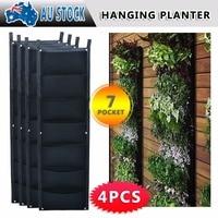Garden Wall Hanging Planter Bag 4Pcs 7 Pockets Vertical Planter For Artifical Planter Flower Bag Hanging Hook Growing Bag