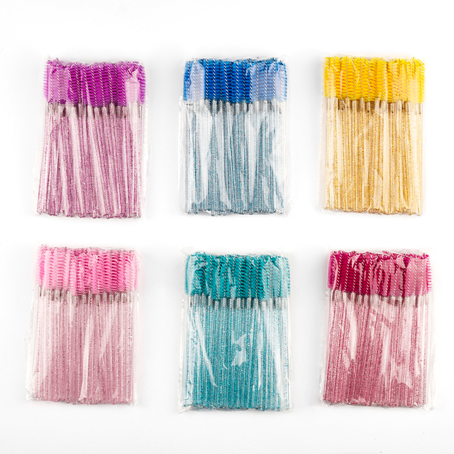 50pcs Shiny Disposable Eyelash Applicator Wand Curler Brush Set Mascara Eyebrow Spoolers Comb Wands Spoolies Brushes Makeup Tool