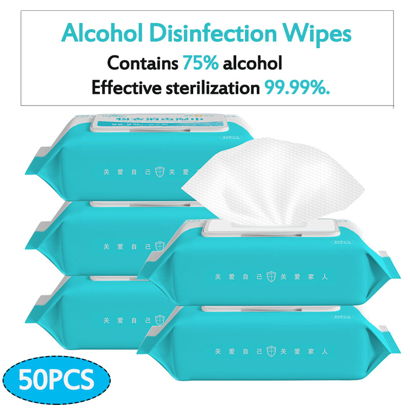 Portable Disinfection Antiseptic Pads Alcohol Swabs Wet Wipes Skin Cleaning Care Sterilization First Aid Cleaning Tissue Box