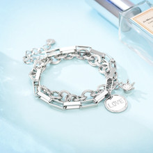 2019 New Fashion Punk Silver Gold  Alloy Chain Bracelet Bangle Double Layer Adjustable Charm for Women Jewelry Gift