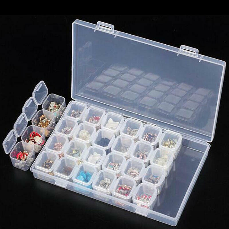 HOT 28 Slots Diamond Painting Kit Adjustable Plastic Storage Box Nail Art Rhinestone Tool Bead Storage Box Case Organizer