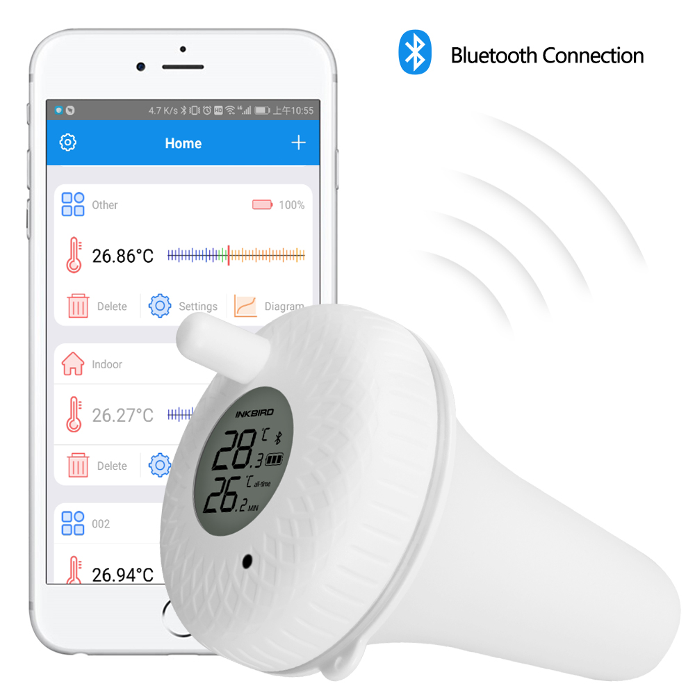 Inkbird IBS-P01B Bluetooth Indoor Outdoor Floating Pool Thermometer For Swimming Pool, Bath Water, Spas, Aquariums & Fish Ponds