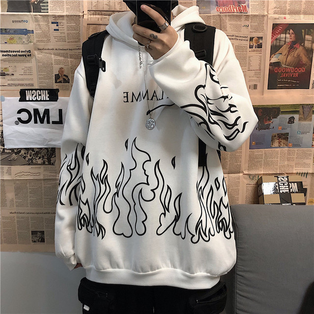 Kpop retro flame print hoodie Korean version ins Harajuku bf style street hip-hop loose plus velvet sweatshirt for men and women 3