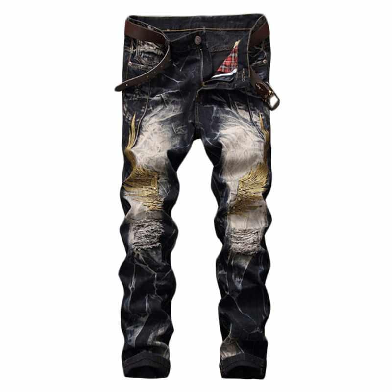 Neue reißen denim männer zerrissene jeans hip hop drapeEmbroidery flügeln slim balmai jeans männer denim hosen männlichen hose größe 29 -42
