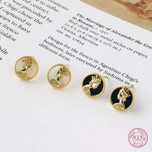 Женские серьги гвоздики из серебра 925 пробы в европейском стиле