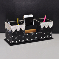 Business Card Case Pen Holder Leather Crystal Rhinestone Makeup Brush Tool Pen Stand Cell Phone Multifunction Office Storage Box