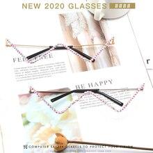 Eyeglasses Frame Crystal Diamond Retro Women Triangle Without-Lens