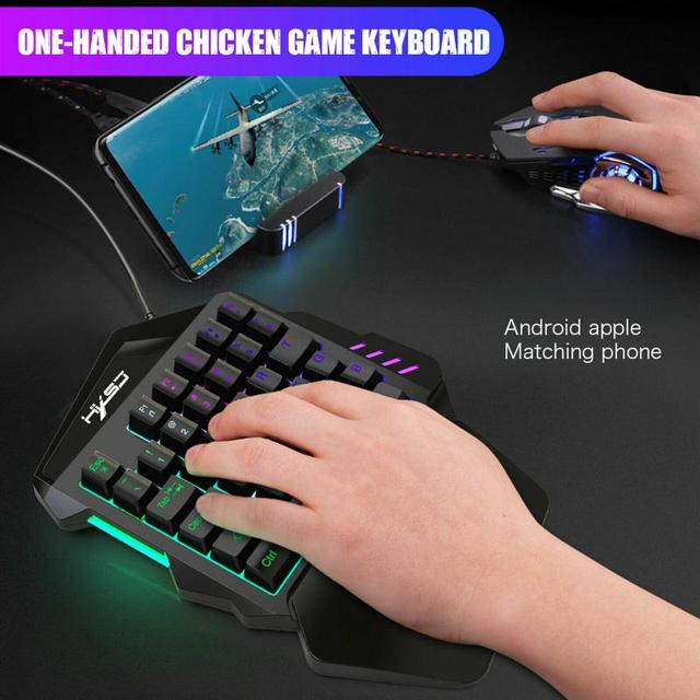 Ergonomic Mechanical Keyboard Mouse LED Combo Colorful Backlight One-Handed Wired Gaming Keyboards 5500DPI PC Gamer Set 4