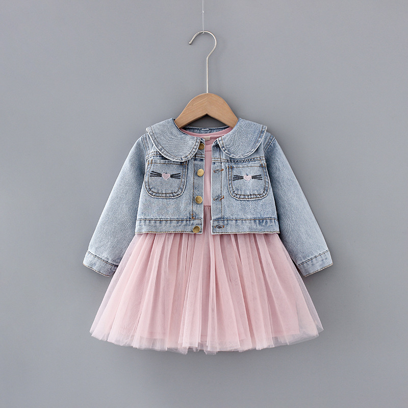 1 2 3 4T newborn baby girl clothes outfits sets denim jacket + tutu dress suit for baby girls clothing fashion design babies set
