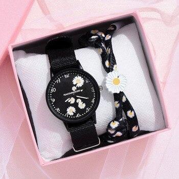 Daisy Flowers-relojes con correa de nailon para mujer, reloj para chicas de moda, conjunto de pulsera de cuarzo, gran oferta 1