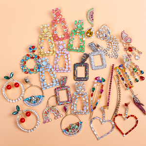 FASHIONSNOOPS de moda ZA Multi-Color pendientes de gota de cristal mujer lujo pendientes llamativos Maxi joyería de fiesta de boda al por mayor