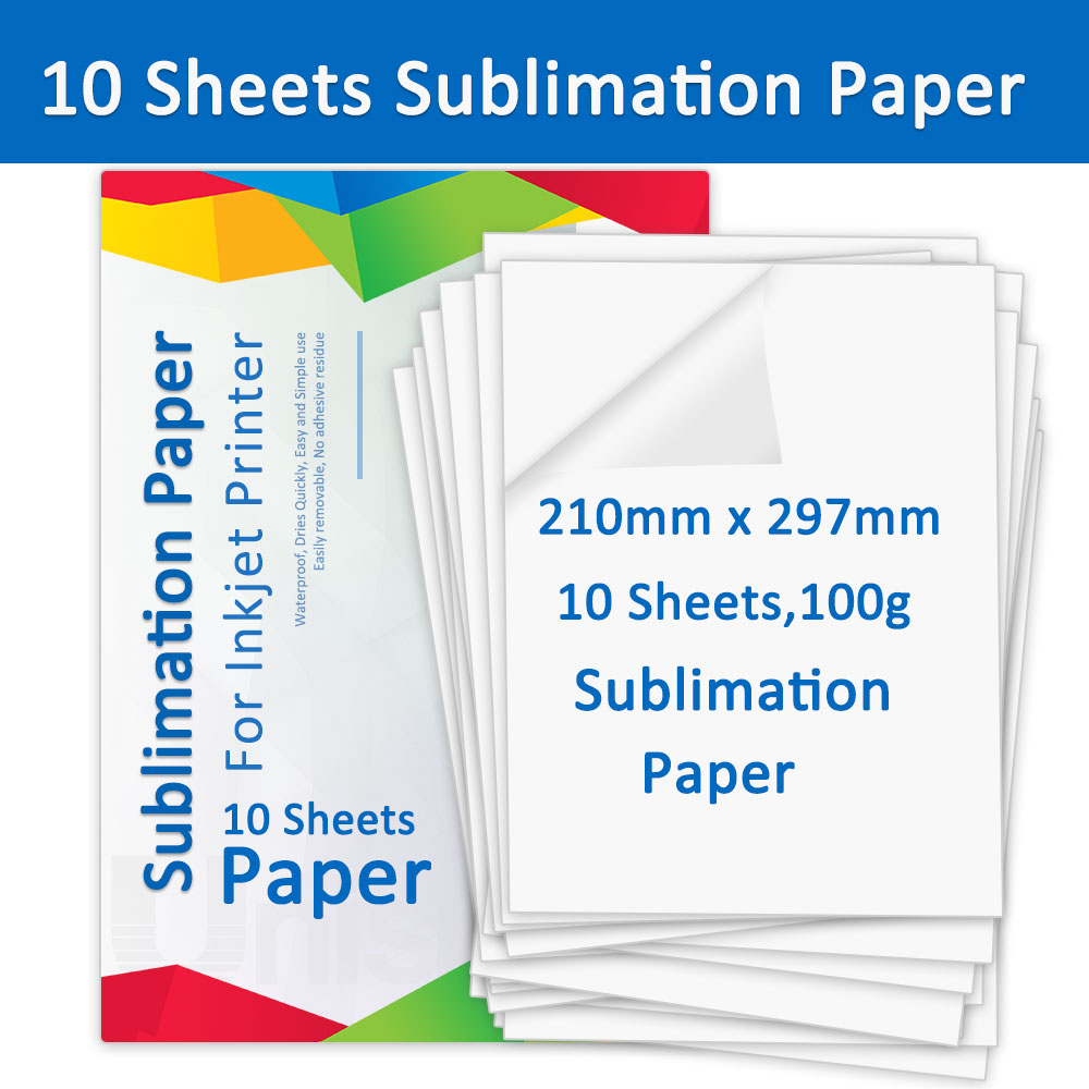 A4 10 Sheets Sublimation Heat Transfer Paper 210*297mm for Inkjet Printer Fabric Transfer Paper for DIY Clothes Cup Phone Case