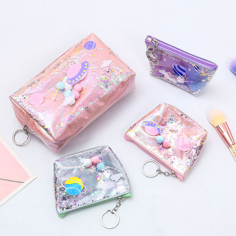 Star Pencil Case Glitter Large Capacity Pencilcase School Pen Makeup Case Supplies Coin Bag School Box Pencil Pouch Coin Purse