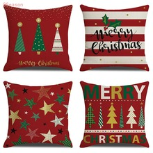 цена на 2020 Happy New Year 4 Pieces Pillow Case Throw Cushion Cover Cotton Linen Pillow Decor for Halloween Thanksgiving Christmas