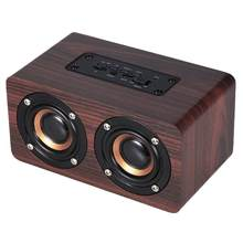 Wooden Wireless Speaker Portable HiFi Shock Bass Speaker Subwoofer Stereo Speaker Radio FM With Mic TF Card Soundbar(China)