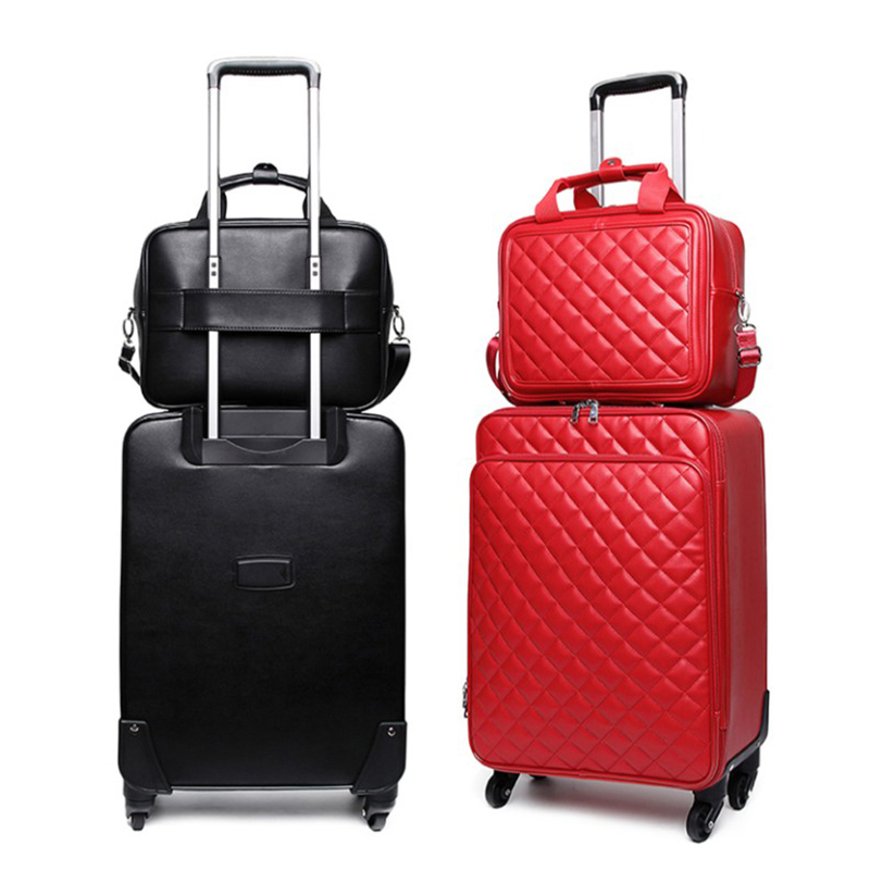 De luxe set de valise de voyage 16/24inc Roulant Bagages Femmes boîtier de chariot Roue Homme boîte d'embarquement porte le Sac De Voyage sac à main pour ordinateur portable