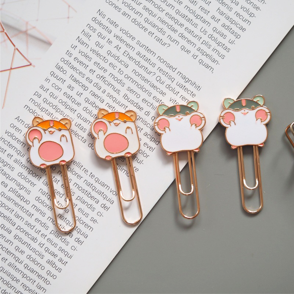 1 Pcs Small Cute Hamster Metal Bookmark Book Notebook Paper Clip School Office Supply Stationery