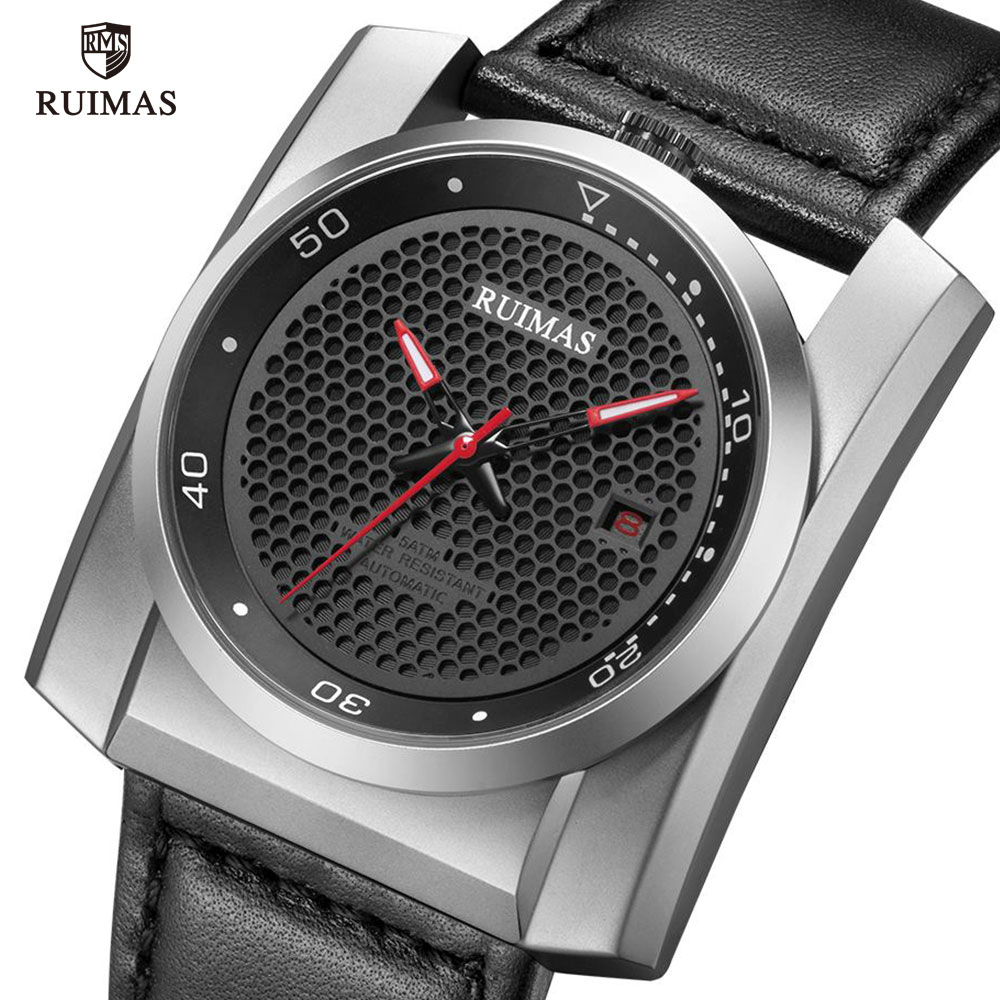 RUIMAS Military Sport Automatic Watches Men Square Honeycomb Dial Mechanical Wristwatch Man Luxury Leather Waterproof Watch 6775